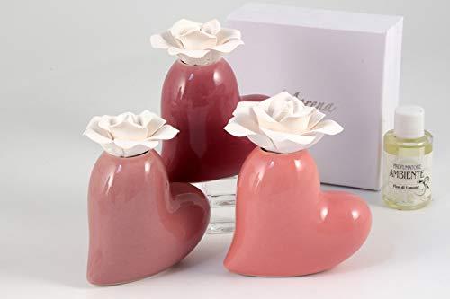 DLM30396 Profumatore Cuore in Ceramica Cuoricino con Fiore Diffusore per Ambienti Matrimonio Comunione Nozze Battesimo Bomboniera