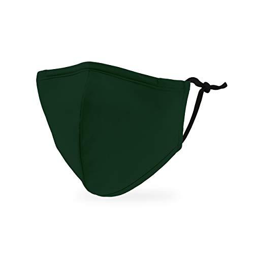 Weddingstar Maschera facciale in tessuto lavabile per bambini Copertura protettiva in tessuto riutilizzabile e regolabile con tasca per filtro antipolvere - Verde scuro