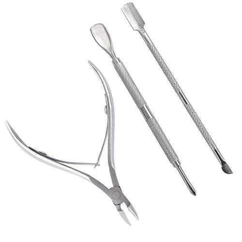 TRIXES Kit per la cura delle cuticole - 3 Pezzi - Taglia cuticole pinza - spingi cuticole - Acciaio inox