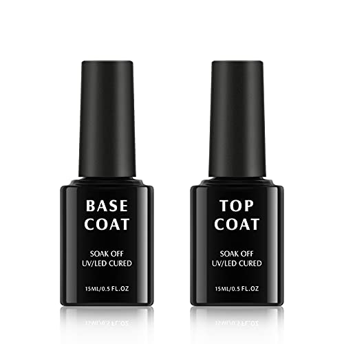TOMICCA Set Top Coat e Base Coat No Wipe, 2x15ml Soak Off Gel UV LED Base per smalto per unghie e Top Coat Lucidante a lunga durata Gel Polish