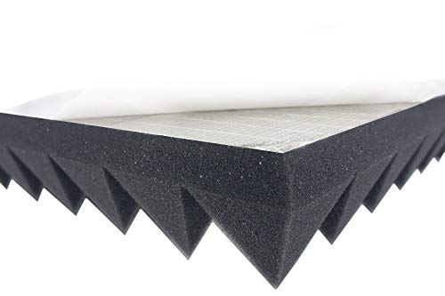 Active Line - Schiuma fonoassorbente autoadesiva, ignifuga, in schiuma a piramide, ca. 49 x 49 x 5 cm, per isolamento acustico efficace