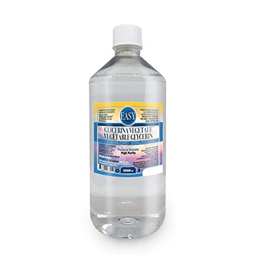 EASY - Glicerina Vegetale (Glicerolo) 1 Litro Liquida Pura (99,98%) - Inodore ed Insapore - Senza OGM | Purezza Certificata di Grado Farmaceutico USP/EP