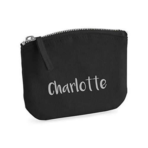 Beauty case per ragazze | personalizzabile con nome | piccola trousse per cosmetici per bambini con nome | borsetta per trucco con chiusura lampo (nero)