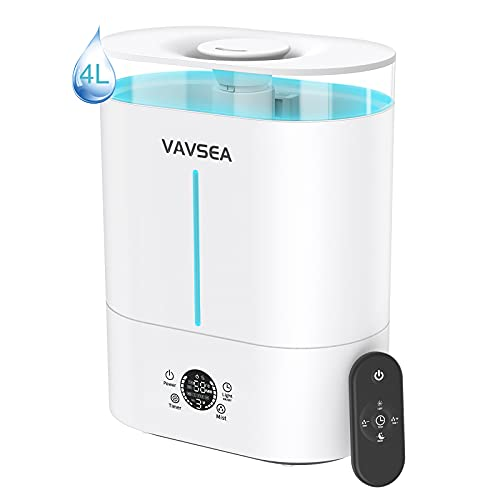 VAVSEA Umidificatore Ambiente Casa Ultrasuoni 4L, Umidificatore Bambini a Riempimento Superiore con elevata capacità del serbatoio dell'acqua, Diffusore di Oli Essenziali , efficiente e silenzioso