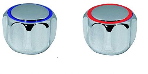 TLDSHOP® - Manopola Cromata per Rubinetti - kit maniglia di ricambio con placca - inserto 20-24 - pz 2 (coppia) - colore placca: ROSSA/BLU