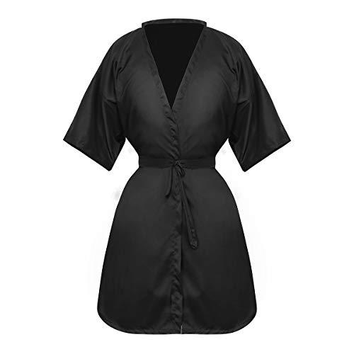 Frcolor - Mantella da parrucchiere, stile kimono, colore: Nero
