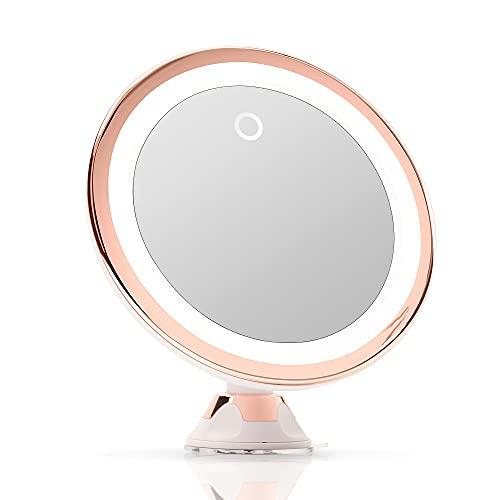 Fancii Specchio Ingranditore 10x per Trucco con Luce LED, USB o Batteria - Specchio Illuminato con Ingradimento, Luci Dimmerabile, Potente Ventosa, Rotazione a 360°, per Bagno e Viaggio (Vetro)