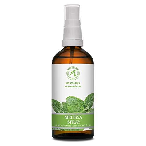 Spray per Ambienti con Olio Essenziale di Melissa - 100ml - Spray all'olio di Melissa per Aromaterapia - Nebbia per Ambienti - Deodorante per Ambienti - Spray per Cuscini - Sonno Riposante