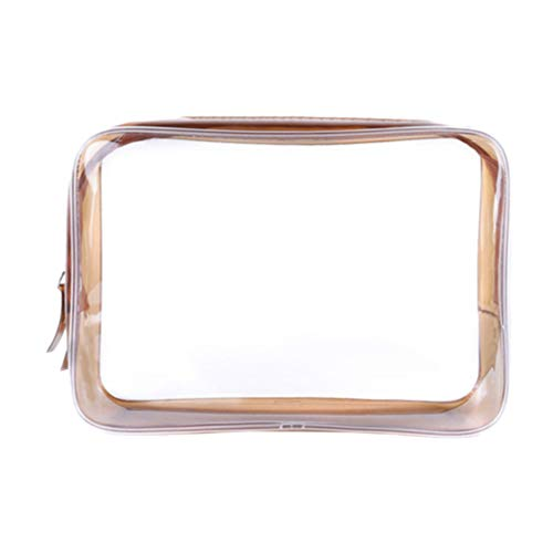 Lurrose Clear Toiletry Bag Waterproof PVC Makeup Pouch Zipper Cosmetic Organizer for Travel - Size S (Coffee)