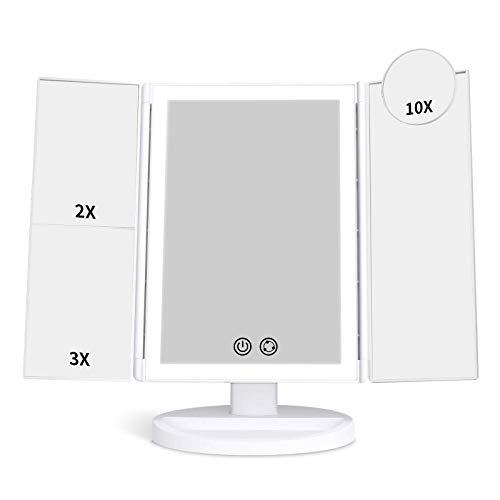 alvorog Specchio Trucco da Tavolo Trifold con Luci 72 LED e Ingrandimento 1X / 2X / 3X / 10X ,180° Rotazione Libera Interruttore Tattile,3 Colori e Luminosità Regolabile per Il Trucco