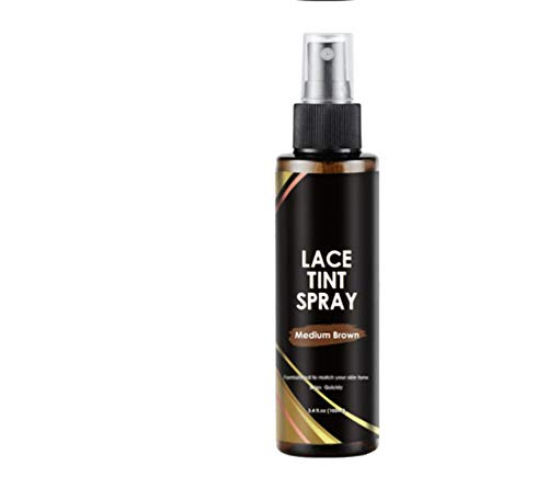 Spray tinta in pizzo per parrucche frontali in pizzo e chiusure in pizzo, Spray correttore istantaneo della radice marrone, Spray per la ricrescita della radice in polvere per capelli (Marrone medio)