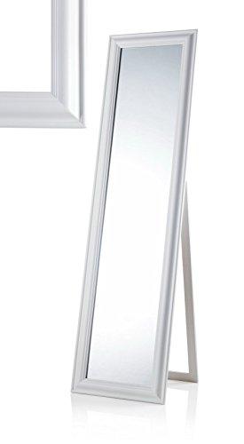 MONTEMAGGI Specchio da Terra con inclinazione Regolabile in Legno Bianco Opaco. Bellissima specchiera in Stile Shabby Chic. Dimensioni: 43,4X4,5X163 cm