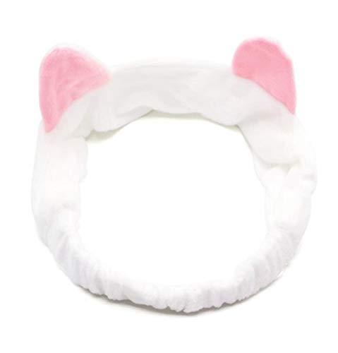 YUEMING 2 pezzi Fascia per capelli con orecchio di gatto, fascia elastica per capelli per donna, fascia per capelli per trucco, fascia da corsa da donna