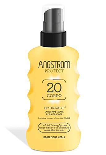Angstrom Protect Latte Solare in Formato Spray, Protezione Solare Corpo 20+ con Azione Idratante e Duratura, Indicata per Pelli Sensibili, 175 ml