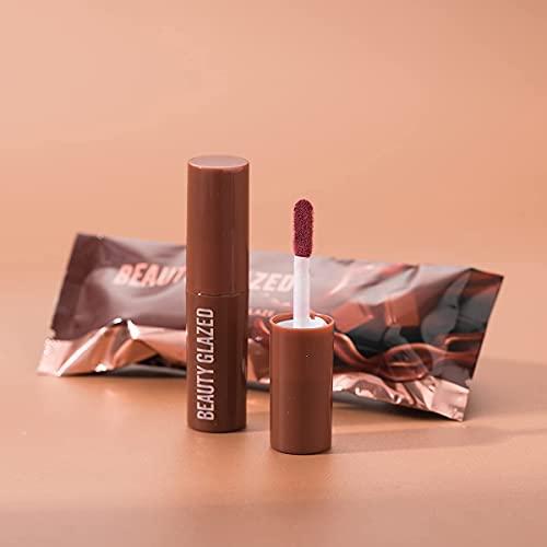 Beauty Glazed Chocolate Rossetto Matte Lip Glaze Velvet Matte Smooth Plush Matte eccellenti prestazioni impermeabili Lip Gloss Sexy Red Lip Makeup Cosmetic # 101 Pale Mauve