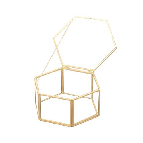 TENDYCOCO Scatola di immagazzinaggio di Gioielli Organizzatore Scatola di Anelli Geometrica Esagonale Decorazione di Nozze di Vetro