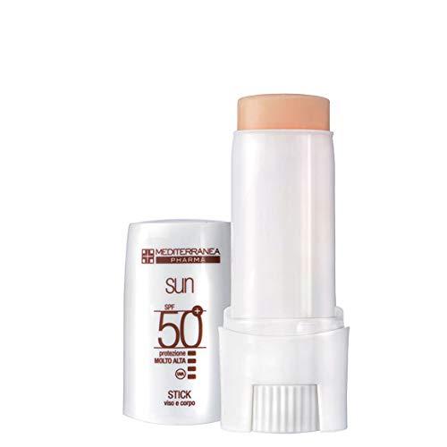 Mediterranea Sun - Stick Solare Viso e Corpo per Pelli Sensibili - Protezione Molto Alta SPF 50+ con Filtro Raggi UVA/UVB e Burro di Karité - 9 ml
