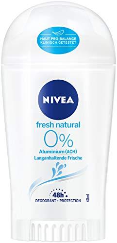 Nivea Fresh Natural Deo Stick (40 ml), deodorante stick senza alluminio (ACH) con fresco profumo di fiori, deodorante 48 ore con protezione antibatterica che nutre la pelle.