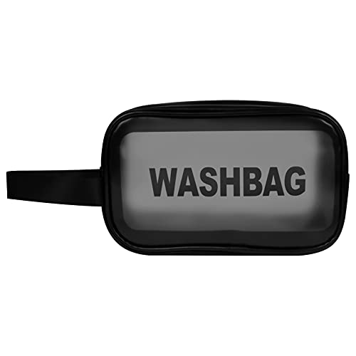 Chstarina Borsa da toilette trasparente Borsa cosmetica impermeabile Borsa da toilette portatile in PVC con cerniera per donne e uomini, viaggi d'affari, vacanze, bagno, organizzazione.