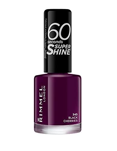 Rimmel London Smalto Unghie 60 Seconds Super Shine - Asciugatura Rapida e Lunga Durata - 345 Black Cherries (Melanzana) - 8 ml