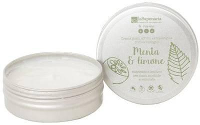 LA SAPONARIA - Crema Mani Menta & Limone - Fresca emulsione energizzante per le mani stanche e rovinate - Assorbimento rapido - Schiarisce le macchie - 100% vegan - 60 ml