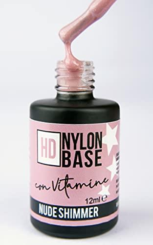 NUDE SHIMMER - Base soak off modellante rinforzante unghie con FIBRE di Nylon, con polvere di LUCE GLITTER, vitamine e calcio - Tecnica SEMIPERMENTE con RINFORZO -12ml   Beauty Space nails
