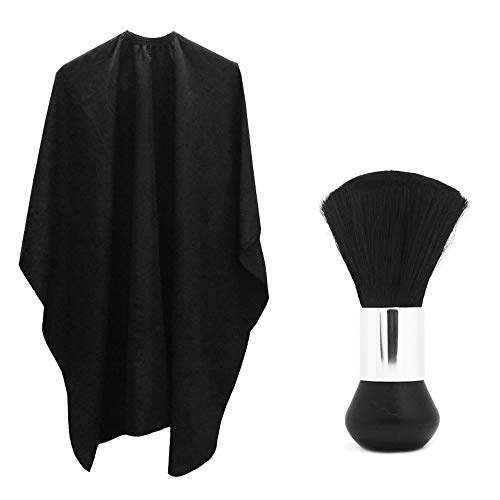 Professional Hair Salon nylon Cape con chiusura regolabile in metallo e collo Duster, Sourceton leggero extra lungo mantello (152,4 x 119,4 cm) e collo Duster Brush, perfetto per barbiere e salone