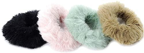 Confezione da 4 piccoli fazzoletti in finta pelliccia, diametro 7 cm, colori tenui