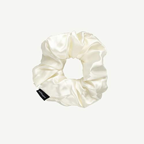 OFFTOPIC Elastico per capelli in 100% pura seta naturale   STOP a capelli spezzati  Accessorio elegante   Certificato Oeko-Tex  Lavabile in lavatrice   Bianco