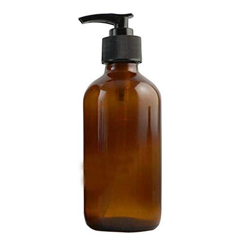 Bottiglia vuota in vetro ambrato ricaricabile da 250 ml con pompa per lozione nera, dispenser di sapone rotondo per oli essenziali, aromaterapia, fai da te, casa, cucina