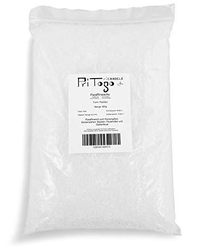 Pritogo - Cera di paraffina per candele, colore: bianco, granulato/pastiglie 900g