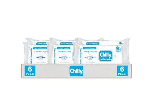 Chilly Salviettine con Antibatterico, Salviette per l'Igiene Intima, Azione di Difesa, Tessuto 100 % Biodegradabile, Ottimi Fuori Casa, PH 5, Clinicamente Testato, Confezione da 6 Salviettine