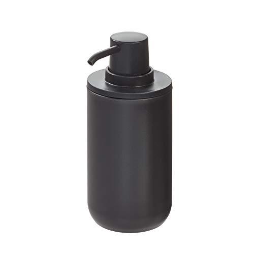 iDesign Dispenser, Porta Liquido Rotondo in plastica per Bagno e Cucina, Dosatore Sapone Ricaricabile con 355 ml di capacità, Nero, 8,0 cm di diametro x 16 cm