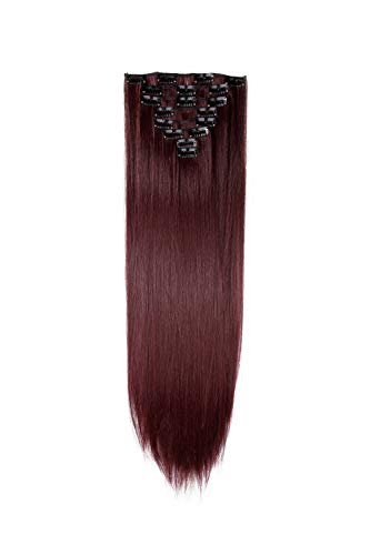 S-noilite Set 8pcs Clip in Hair Extensions Extension Clip Capelli Veri Testa Piena 18Clips Parrucchino 66cm Dritto Vino rosso