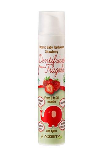 Dentifricio biologico certificato con xilitolo - Linea Bimbi (baby) - confezione da 50 ml al gusto fragola - rafforza gengive e lo smalto - non contiene fluoro