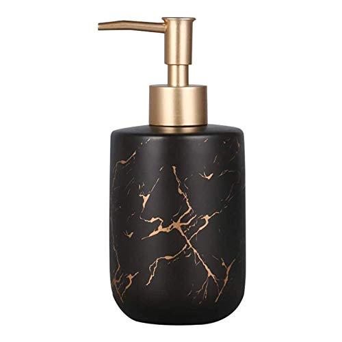 PECHTY - Dosatore per sapone liquido in ceramica, ricaricabile, per la distribuzione di sapone liquido o lozioni, capacità 300 ml, colore: Nero