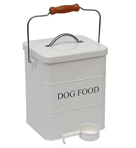 Geyecete - Contenitori per Alimenti per Animali Domestici, in Acciaio al Carbonio Rivestito, con Coperchio e Cucchiaio,per Cibo per Cani,capacità 6L-Bianco