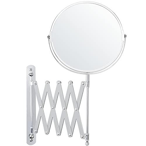 BELLE VOUS Specchio Rotondo da Parete Cromato Estensibile a 360° - Specchio Trucco Ingranditore 3X in Acciaio Inox - Specchio Parete Rotondo da 22 x 21,7 cm - Specchio Ingranditore Trucco e Rasatura