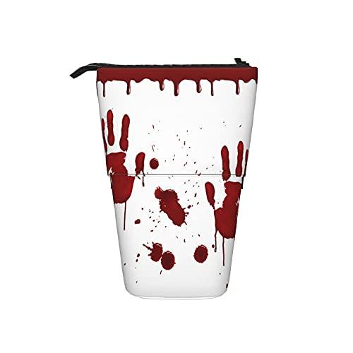 COSNUG Astuccio per ragazze e ragazzi Halloween Zombie mano rossa sangue matita supporto telescopico Pop Up cancelleria in piedi portapenne portatile sacchetto cosmetico