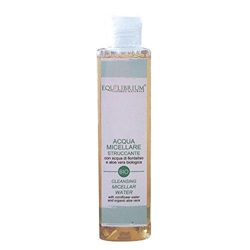 EQUILIBRIUM - COSMESI NATURALE Acqua Micellare Struccante 200 ml BIO con Acqua di Fiordaliso e Aloe Vera biologica