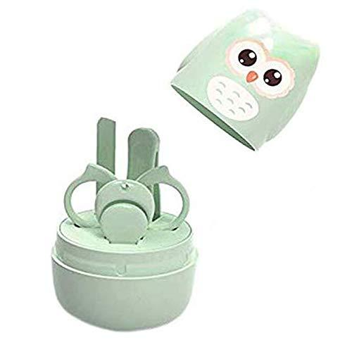 MINGZE Set Manicure Neonati, Kit 4-in-1 Per Baby Con Tagliaunghie, Forbicine, Lima e Pinzetta, Sicuro, Facile da Usare, Ottima Idea Regalo per Nascita o Battesimo (Verde chiaro)