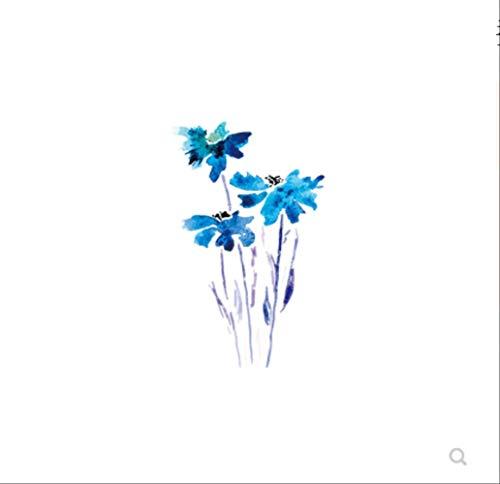 LNNHJB Simulazione di Colore della Caviglia del Polso della mascella dell'orchidea Fresca Impermeabile Femminile Resistente del Tatuaggio del Fiore Blu Impermeabile Carino