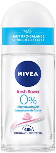 Nivea Fresh Flower Deo Roll On (50 ml), deodorante senza alluminio (ACH) con fresco profumo floreale e protezione antibatterica, deodorante nutriente 48 ore.