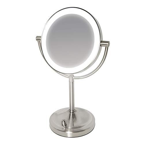 HoMedics Beauty Spa, Specchio Cosmetico per Trucco Illuminato con Luci LED, Specchio Double Face Rotante con Regolatore della Luce e Ingrandimento da 1X e 7X, a Batteria, 16.5x25x36.5 cm, Bianco