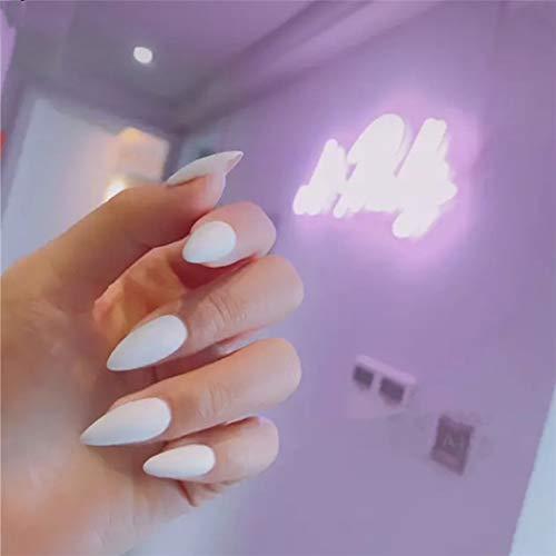 Jovono tinta unita unghie finte unghie finte opache unghie lunghe unghie artificiali per donne e ragazze 24 pezzi (bianco)