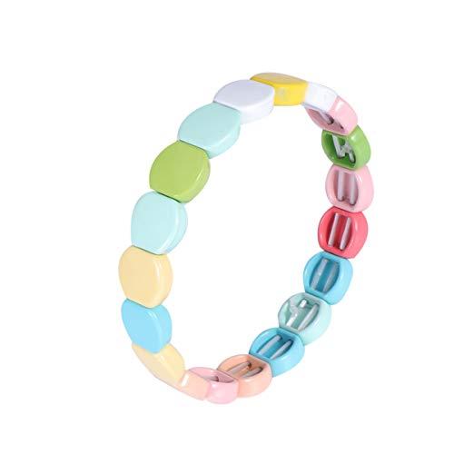 EXCEART Bracciale Piastrella Smaltata Arcobaleno Tila Perline Bracciali Impilabile Elastico Bracciale Rigido per Uomo Donna Stile 1
