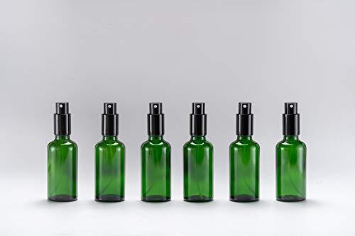 Yizhao - Flacone spray in vetro verde da 50 ml, con tappo in metallo per pulizia, aromaterapia, diffusore di oli essenziali, massaggi, capelli, animali domestici, 6 pezzi