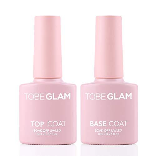 TOBEGLAM 2 pezzi x 8ml base e top coat semipermanente brillante gel uv smalto per unghie gel base coat e top coat finitura multiuso in Gel UV LED per Unghie