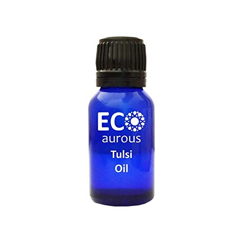 Tulsi Oil 100% Natural, Pure, Organic, Vegan & Cruelty Free Essential Oil with Euro Dropper by Eco Aurous (10 ml)