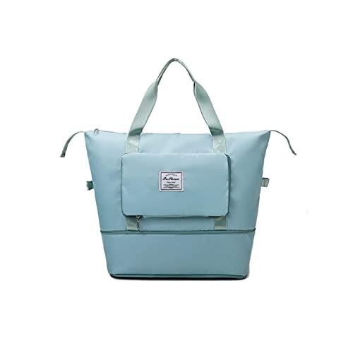 Waterproof Large Capacity Foldable Storage Bag Handbag, Dry&Wet Separation Sports Portable Shoulder Bag (Green)
